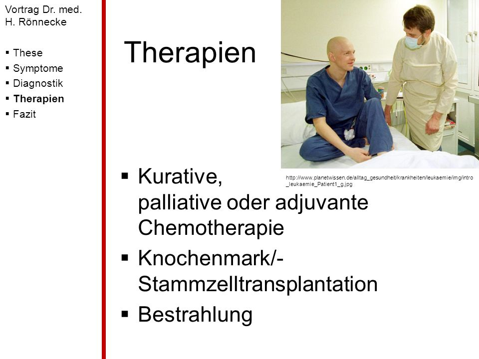 Therapien Kurative, palliative oder adjuvante Chemotherapie