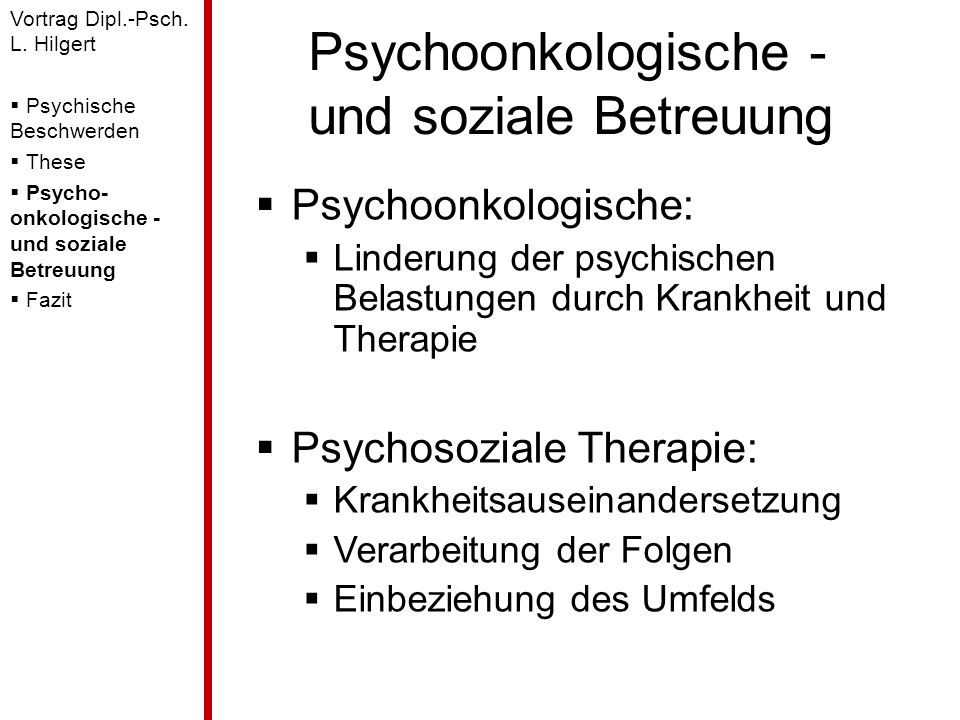 Psychoonkologische - und soziale Betreuung