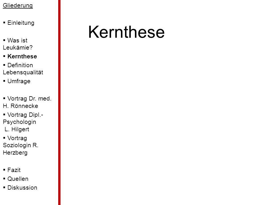Kernthese Gliederung Einleitung Was ist Leukämie Kernthese