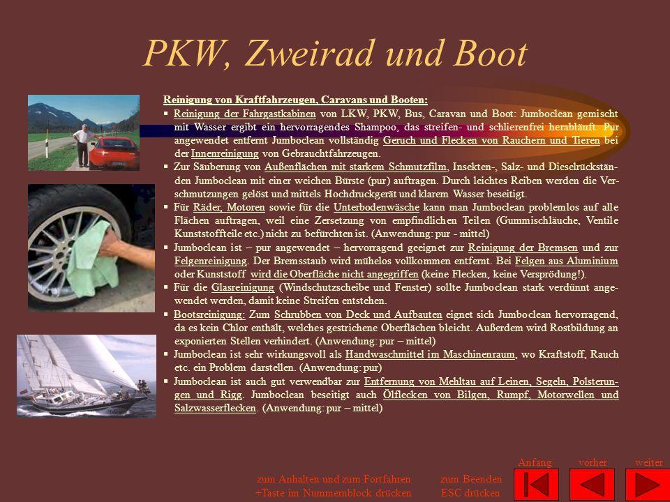 PKW, Zweirad und Boot Reinigung von Kraftfahrzeugen, Caravans und Booten: