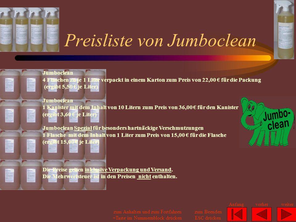 Preisliste von Jumboclean