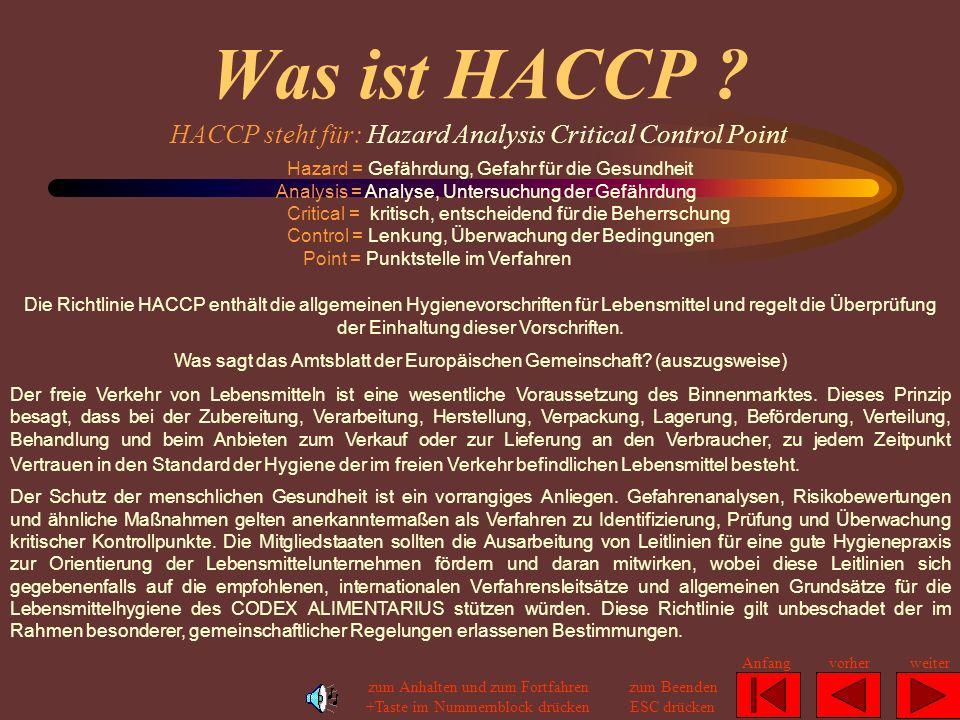 Was ist HACCP HACCP steht für: Hazard Analysis Critical Control Point.