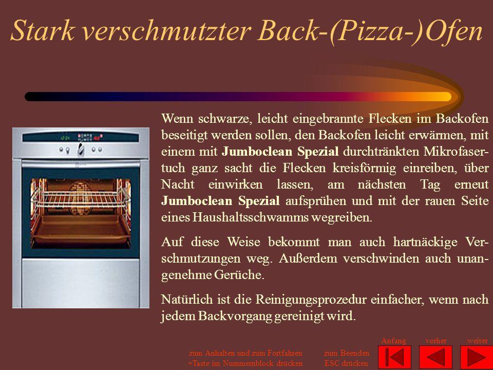 Stark verschmutzter Back-(Pizza-)Ofen