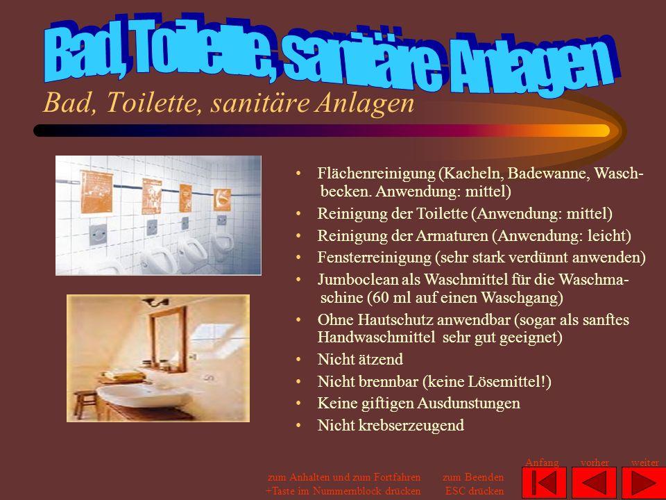 Bad, Toilette, sanitäre Anlagen