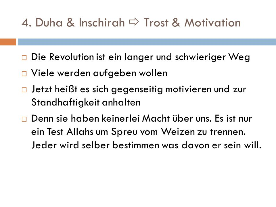 4. Duha & Inschirah  Trost & Motivation