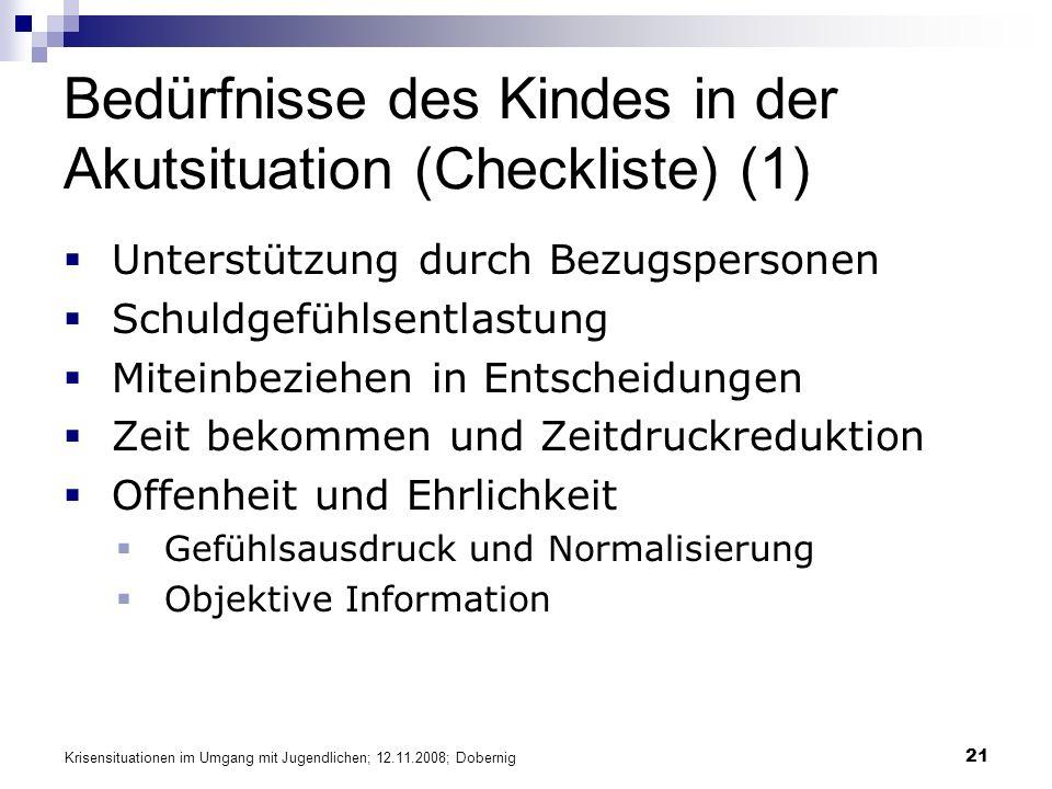 Bedürfnisse des Kindes in der Akutsituation (Checkliste) (1)
