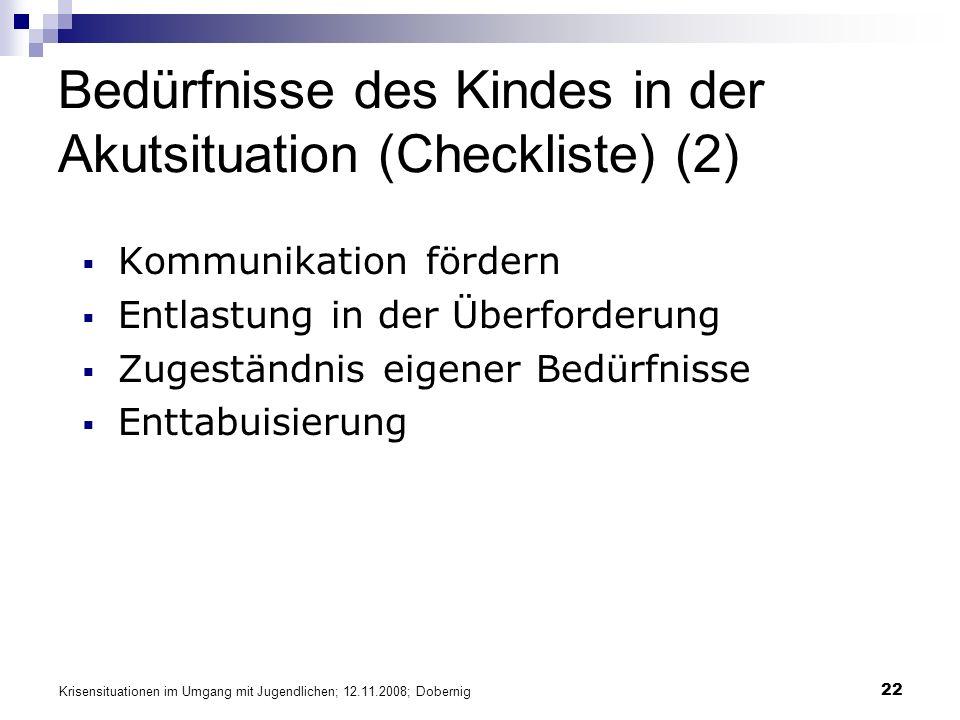 Bedürfnisse des Kindes in der Akutsituation (Checkliste) (2)