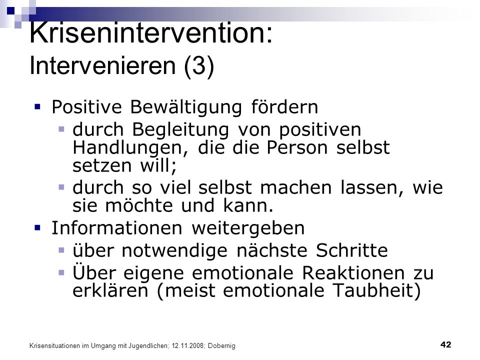 Krisenintervention: Intervenieren (3)
