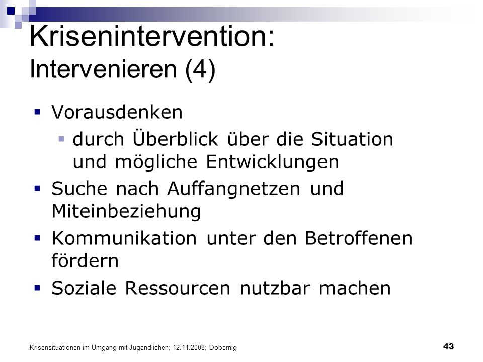 Krisenintervention: Intervenieren (4)