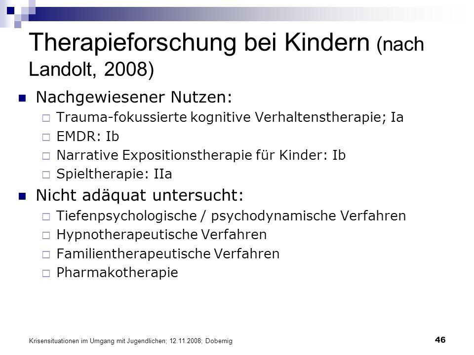 Therapieforschung bei Kindern (nach Landolt, 2008)