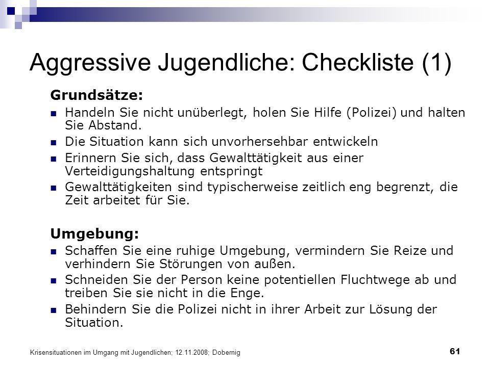 Aggressive Jugendliche: Checkliste (1)