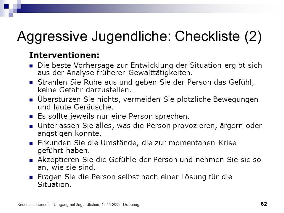 Aggressive Jugendliche: Checkliste (2)