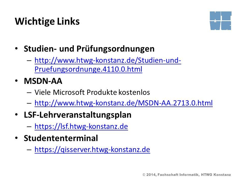 Wichtige Links Studien- und Prüfungsordnungen MSDN-AA