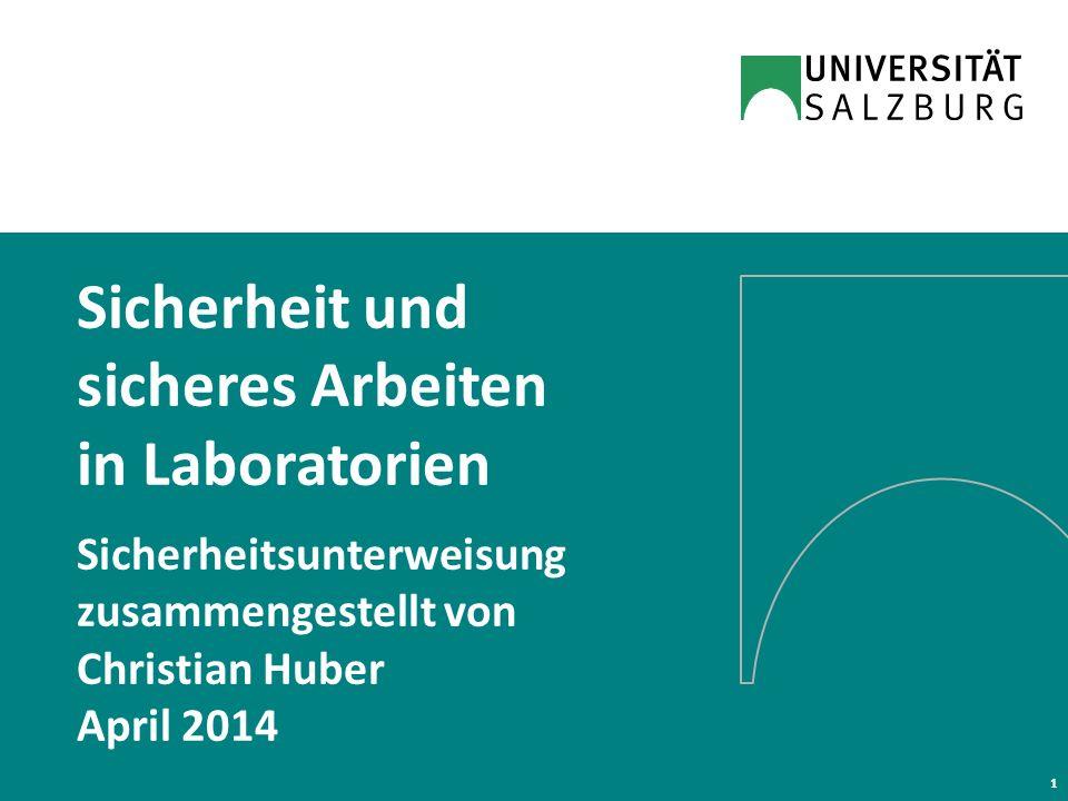 Sicherheit und sicheres Arbeiten in Laboratorien