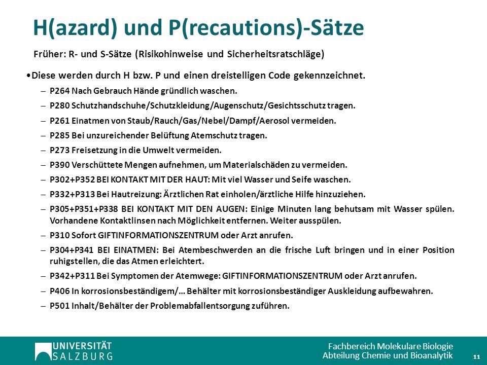 H(azard) und P(recautions)-Sätze