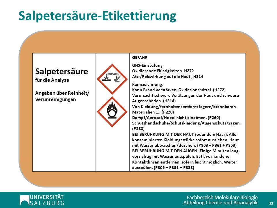 Salpetersäure-Etikettierung