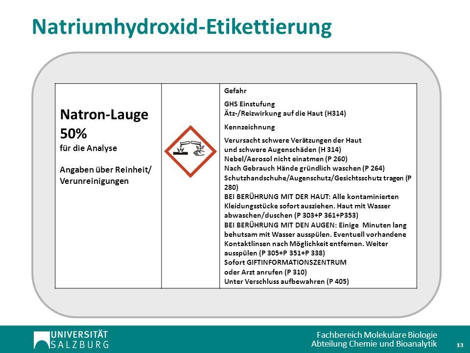 Natriumhydroxid-Etikettierung