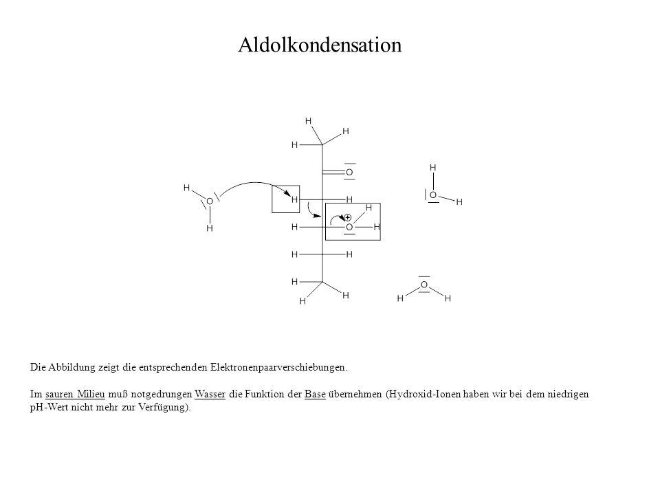 Aldolkondensation Die Abbildung zeigt die entsprechenden Elektronenpaarverschiebungen.