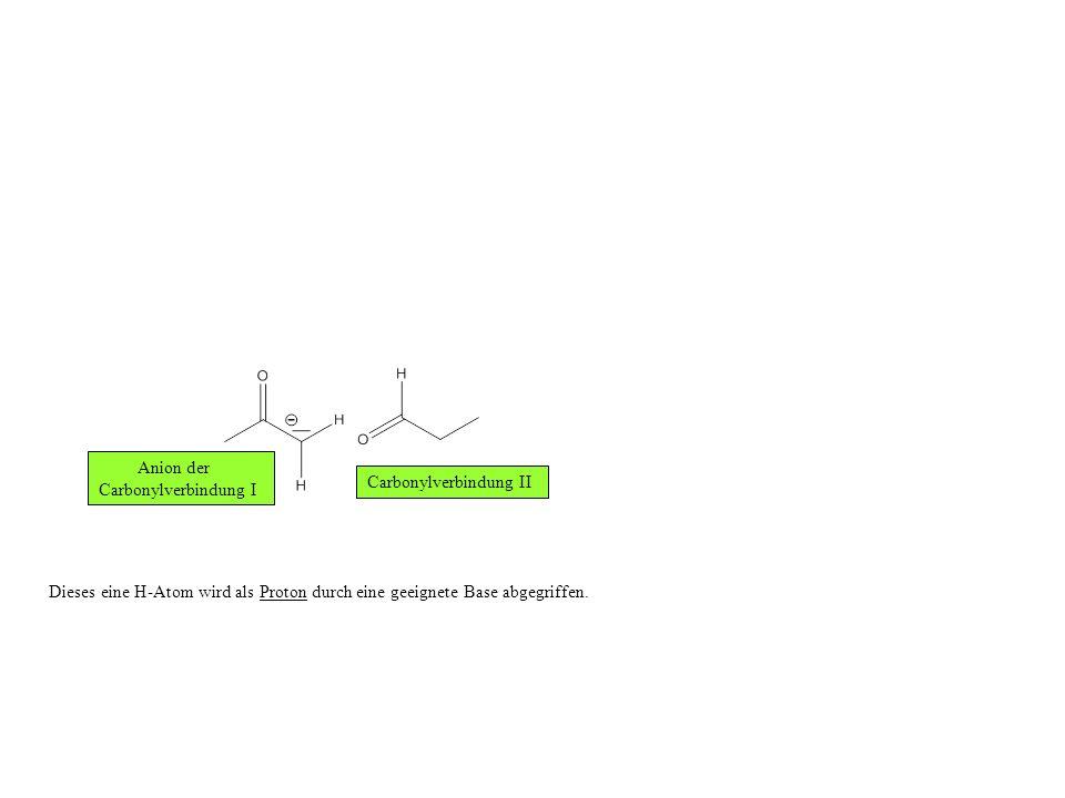 Anion der Carbonylverbindung I. Carbonylverbindung II.
