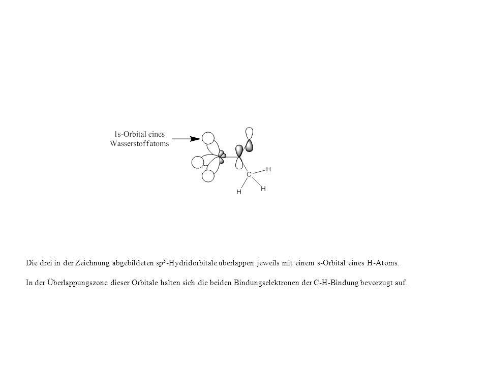 Die drei in der Zeichnung abgebildeten sp3-Hydridorbitale überlappen jeweils mit einem s-Orbital eines H-Atoms.