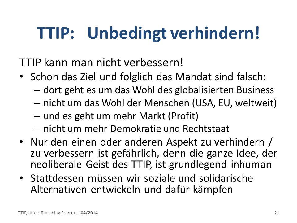 TTIP: Unbedingt verhindern!