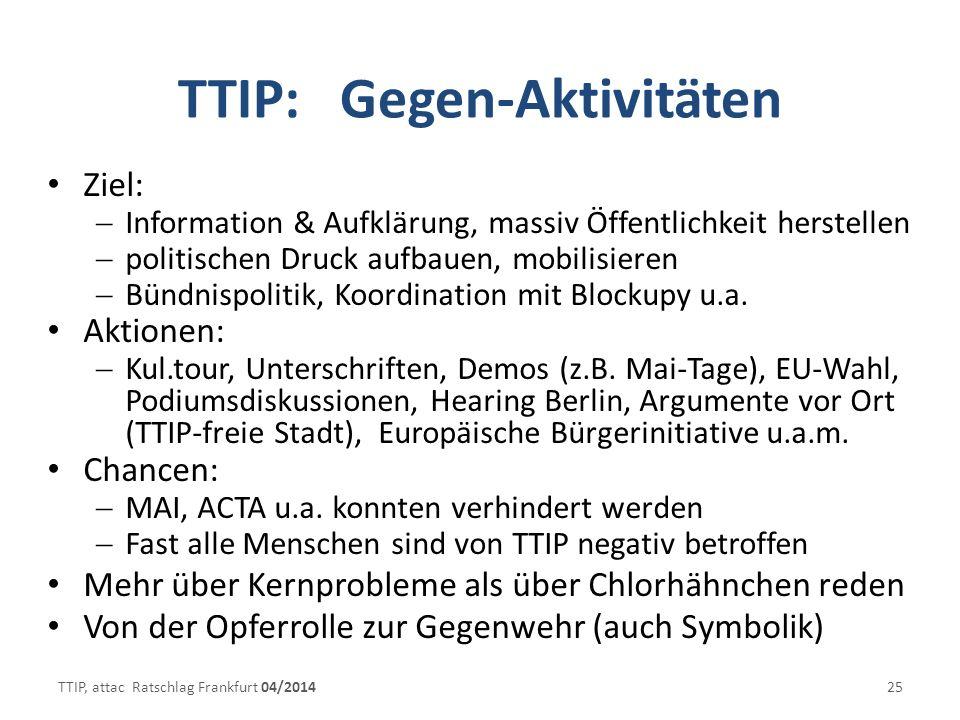 TTIP: Gegen-Aktivitäten