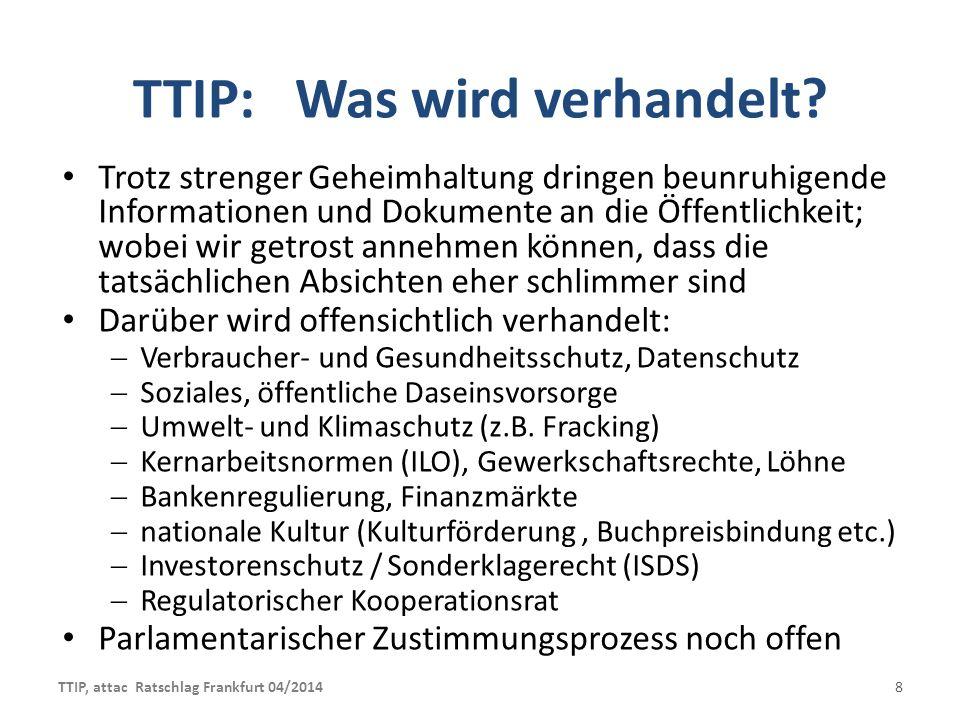 TTIP: Was wird verhandelt