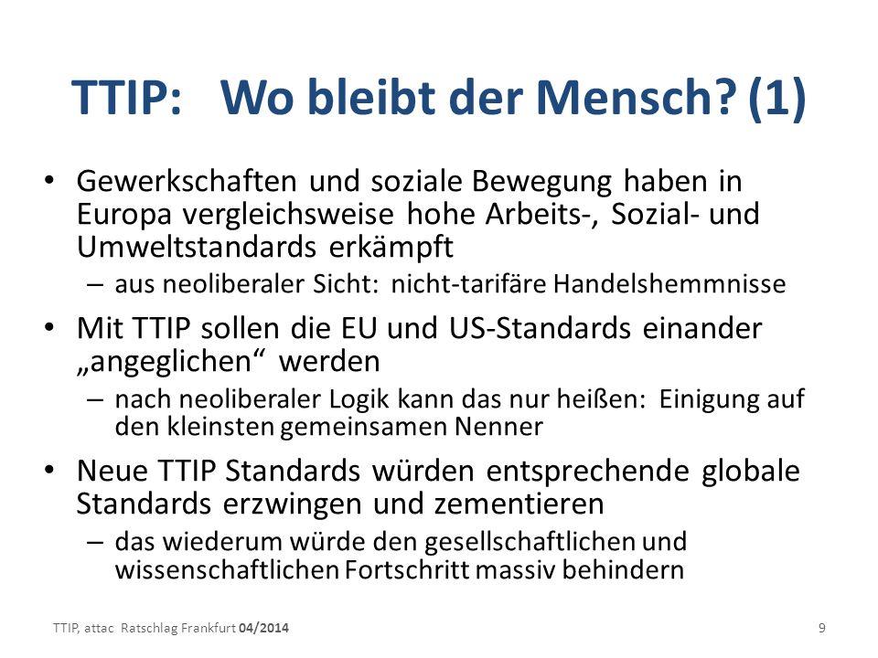 TTIP: Wo bleibt der Mensch (1)