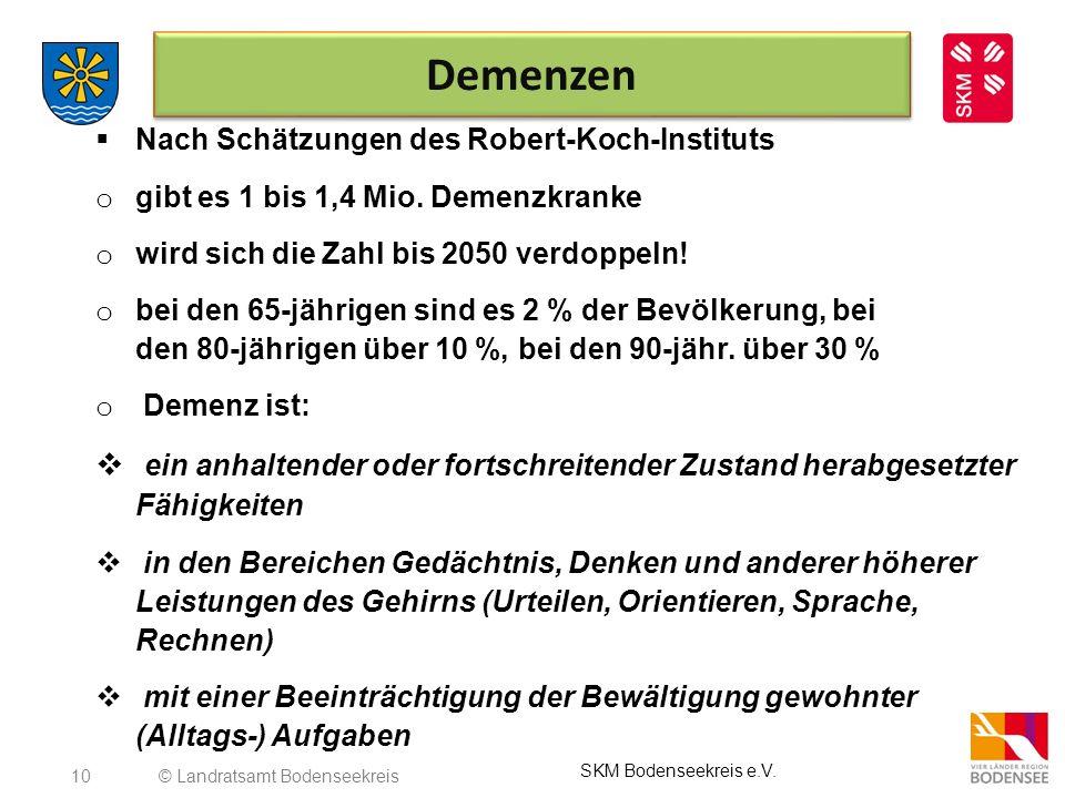 Demenzen Nach Schätzungen des Robert-Koch-Instituts. gibt es 1 bis 1,4 Mio. Demenzkranke. wird sich die Zahl bis 2050 verdoppeln!