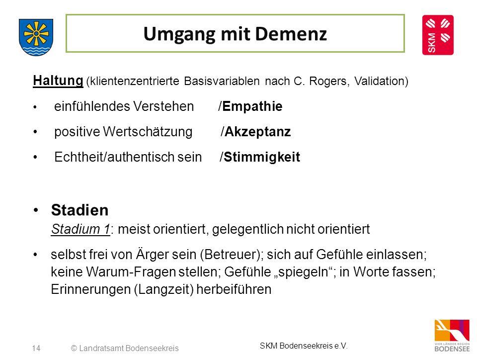 Umgang mit Demenz Haltung (klientenzentrierte Basisvariablen nach C. Rogers, Validation) einfühlendes Verstehen /Empathie.