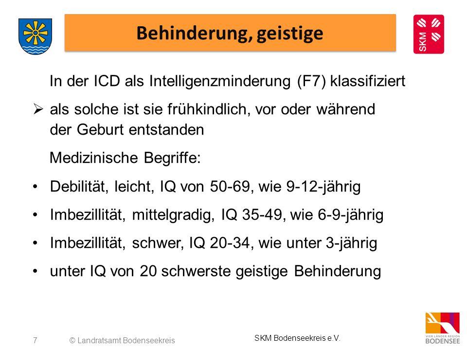 Behinderung, geistige In der ICD als Intelligenzminderung (F7) klassifiziert.
