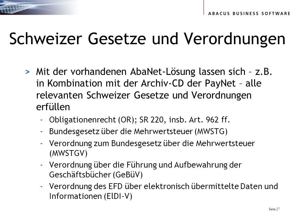 Schweizer Gesetze und Verordnungen