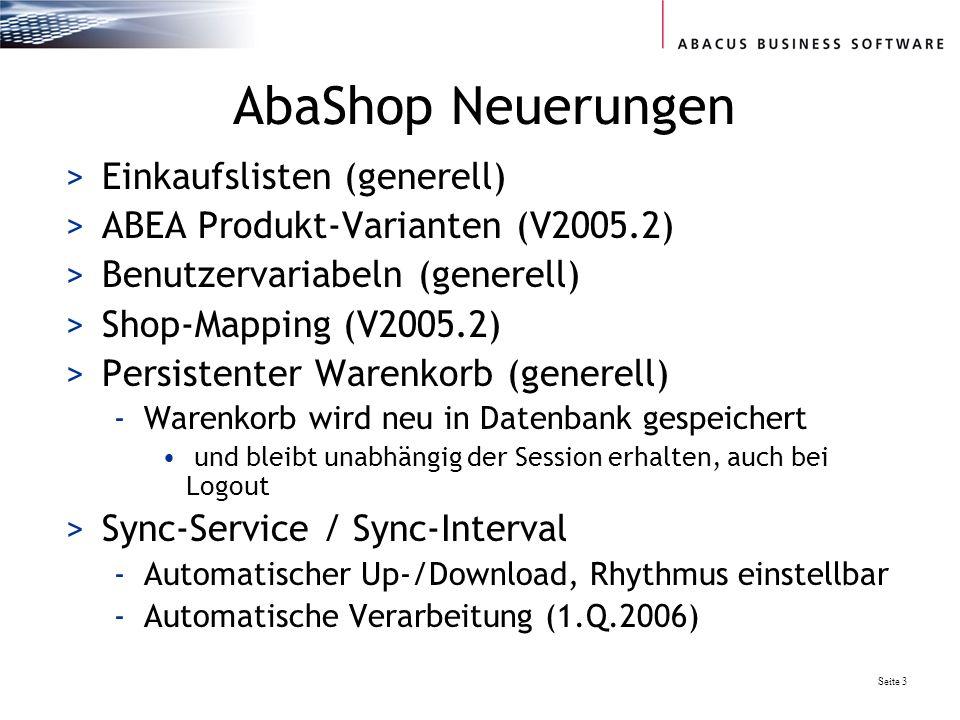 AbaShop Neuerungen Einkaufslisten (generell)
