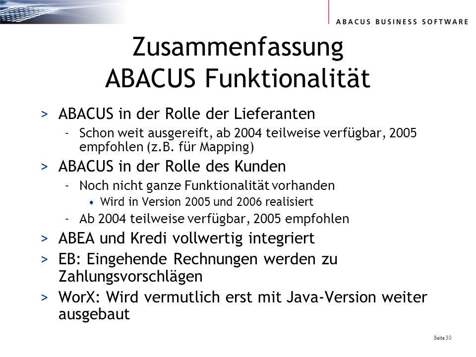 Zusammenfassung ABACUS Funktionalität