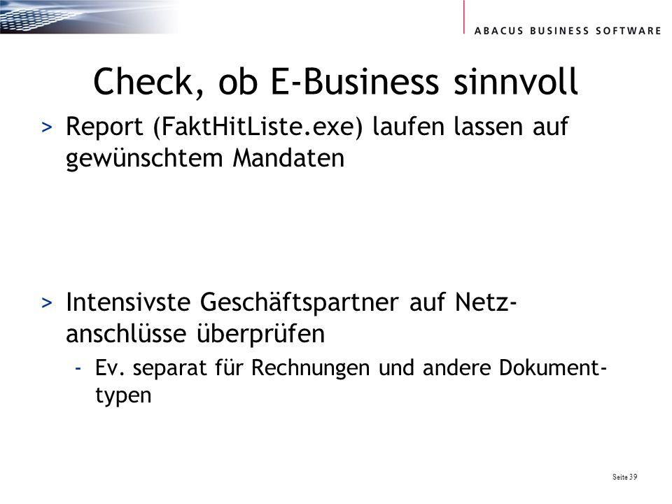 Check, ob E-Business sinnvoll