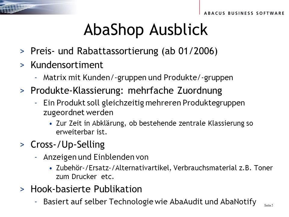 AbaShop Ausblick Preis- und Rabattassortierung (ab 01/2006)