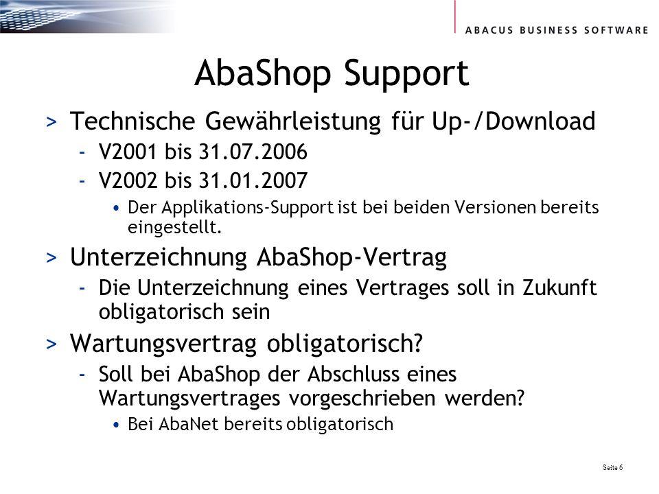 AbaShop Support Technische Gewährleistung für Up-/Download