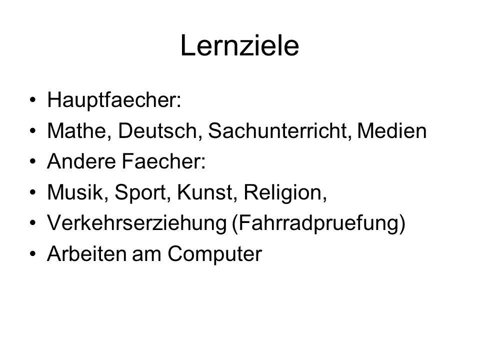 Lernziele Hauptfaecher: Mathe, Deutsch, Sachunterricht, Medien