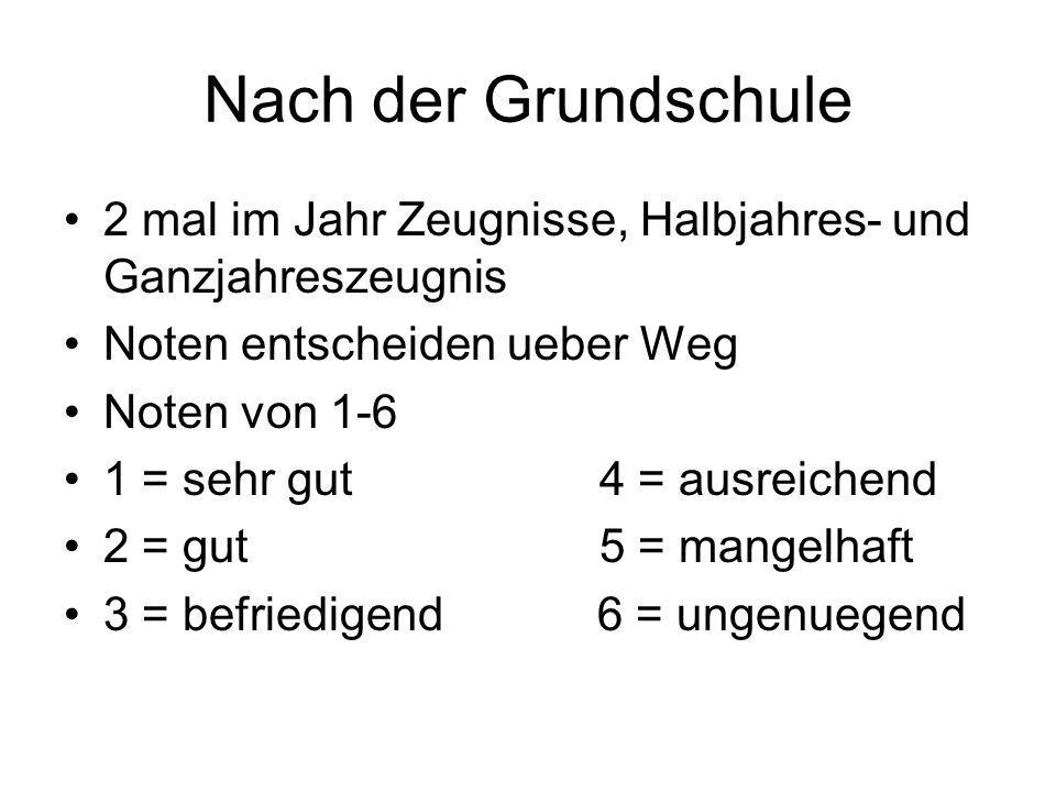 Nach der Grundschule 2 mal im Jahr Zeugnisse, Halbjahres- und Ganzjahreszeugnis. Noten entscheiden ueber Weg.