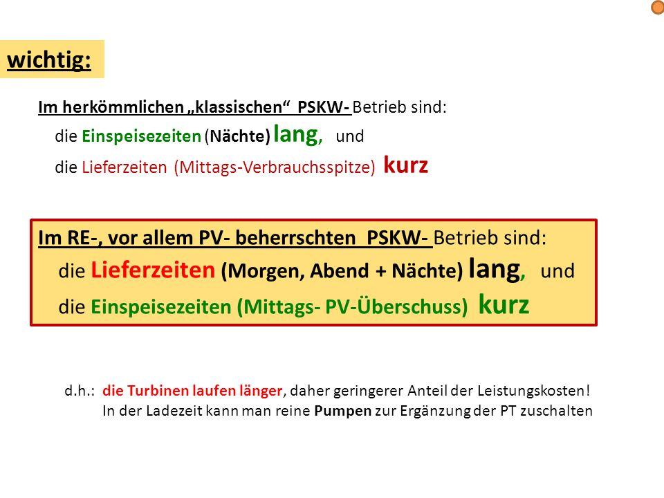 wichtig: Im RE-, vor allem PV- beherrschten PSKW- Betrieb sind: