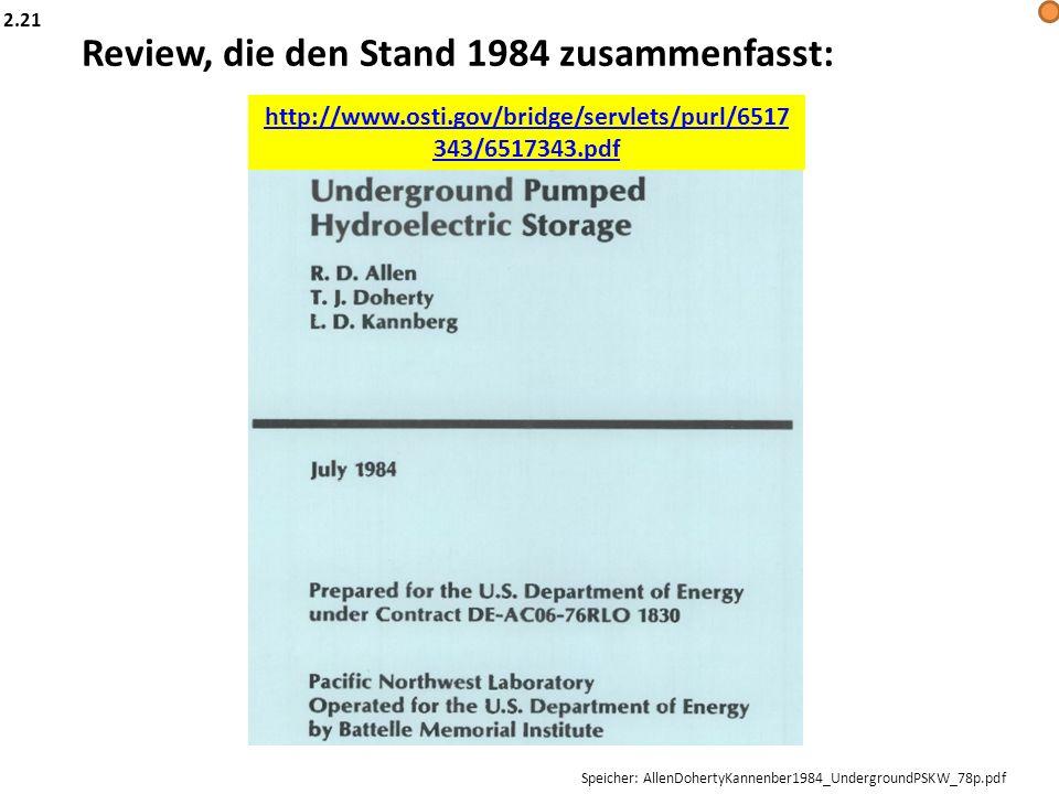 Review, die den Stand 1984 zusammenfasst: