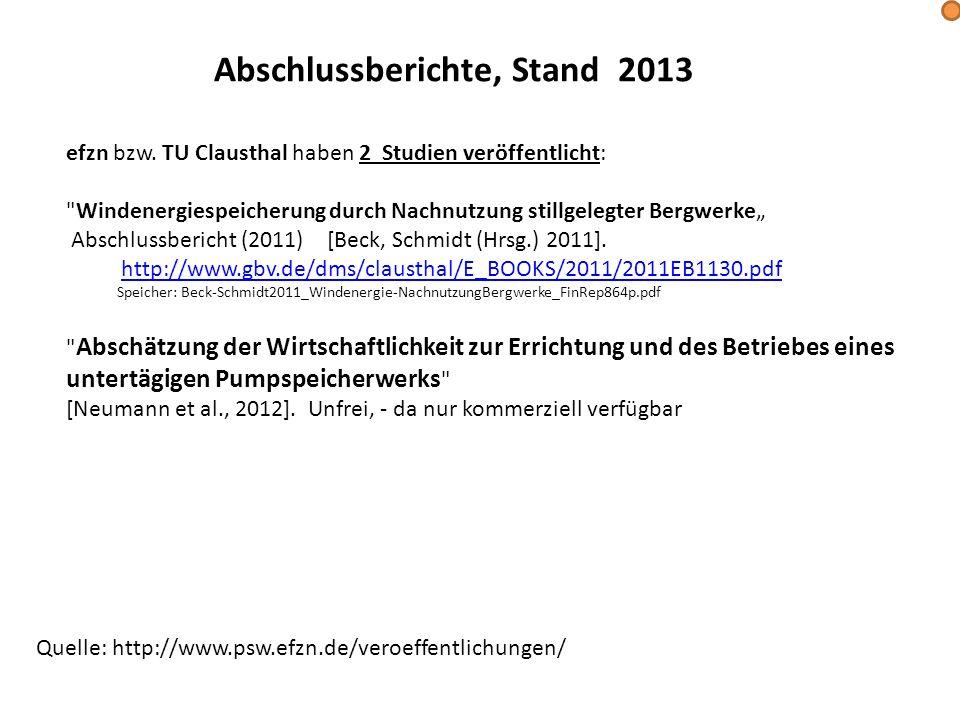 Abschlussberichte, Stand 2013