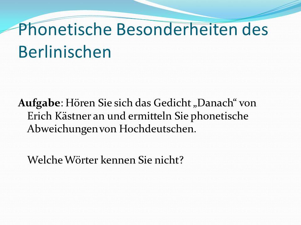 Phonetische Besonderheiten des Berlinischen