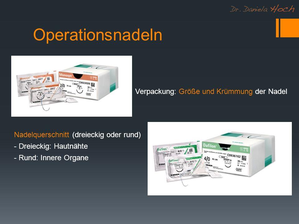 Operationsnadeln Verpackung: Größe und Krümmung der Nadel