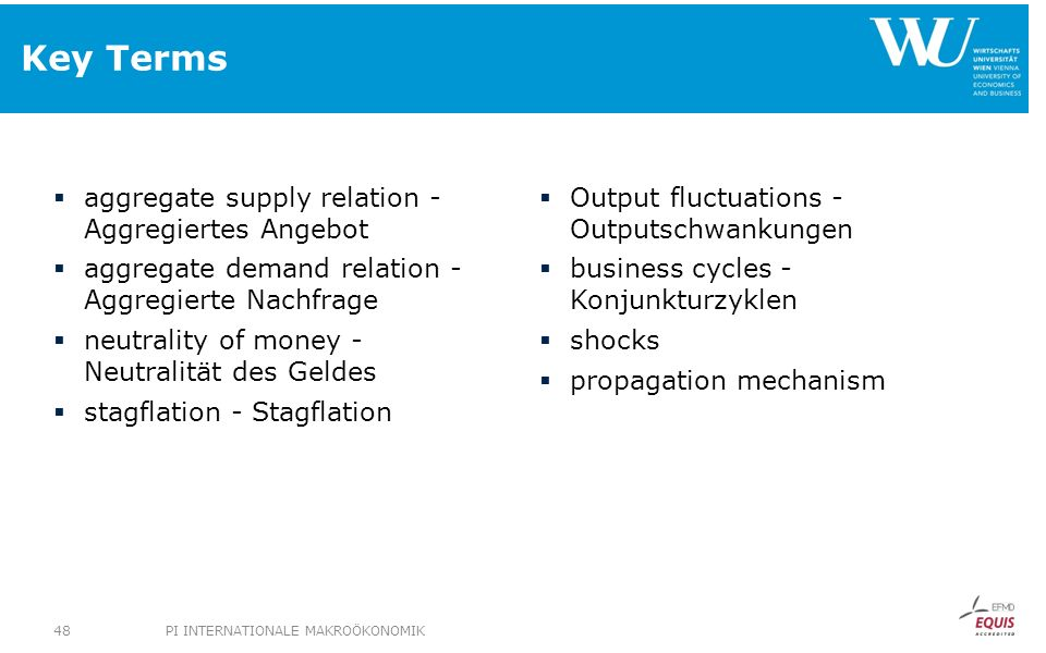 Key Terms aggregate supply relation - Aggregiertes Angebot