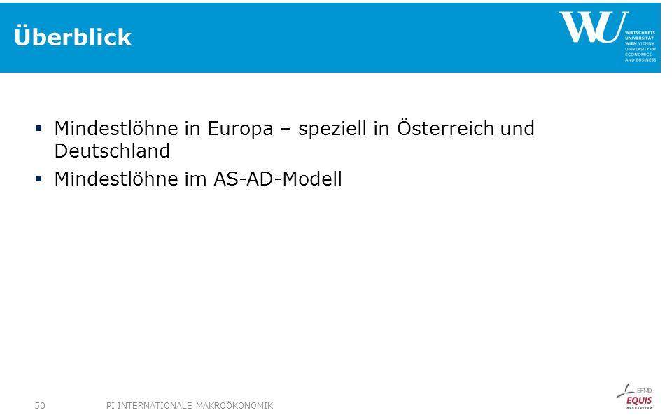 Überblick Mindestlöhne in Europa – speziell in Österreich und Deutschland. Mindestlöhne im AS-AD-Modell.