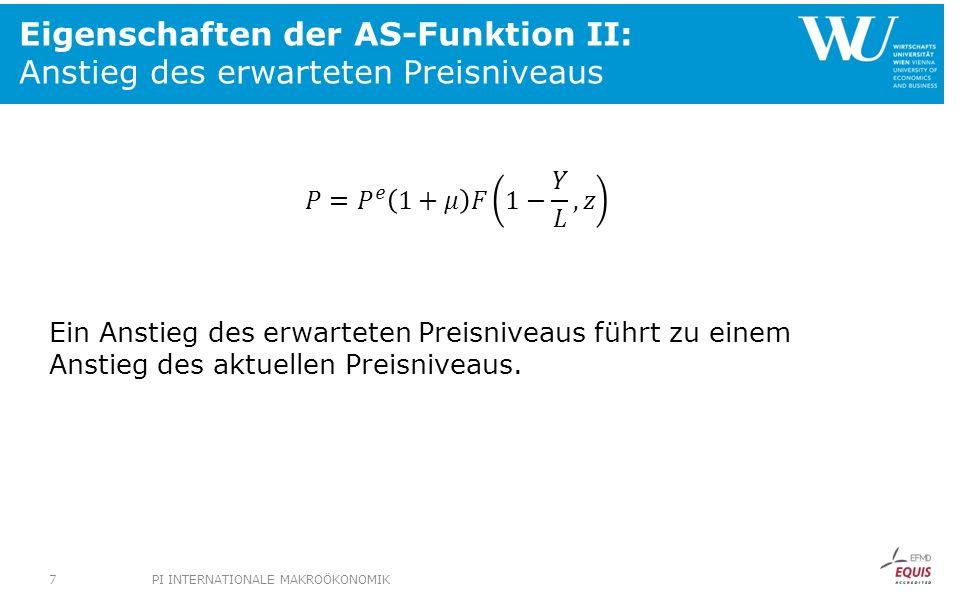 Eigenschaften der AS-Funktion II: Anstieg des erwarteten Preisniveaus