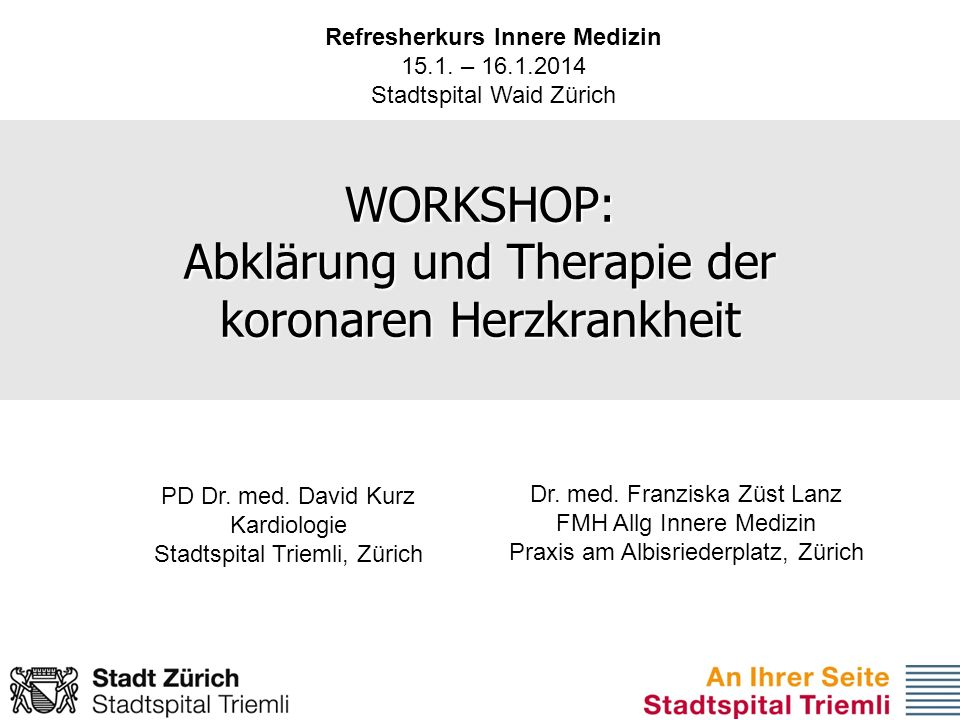 WORKSHOP: Abklärung und Therapie der koronaren Herzkrankheit