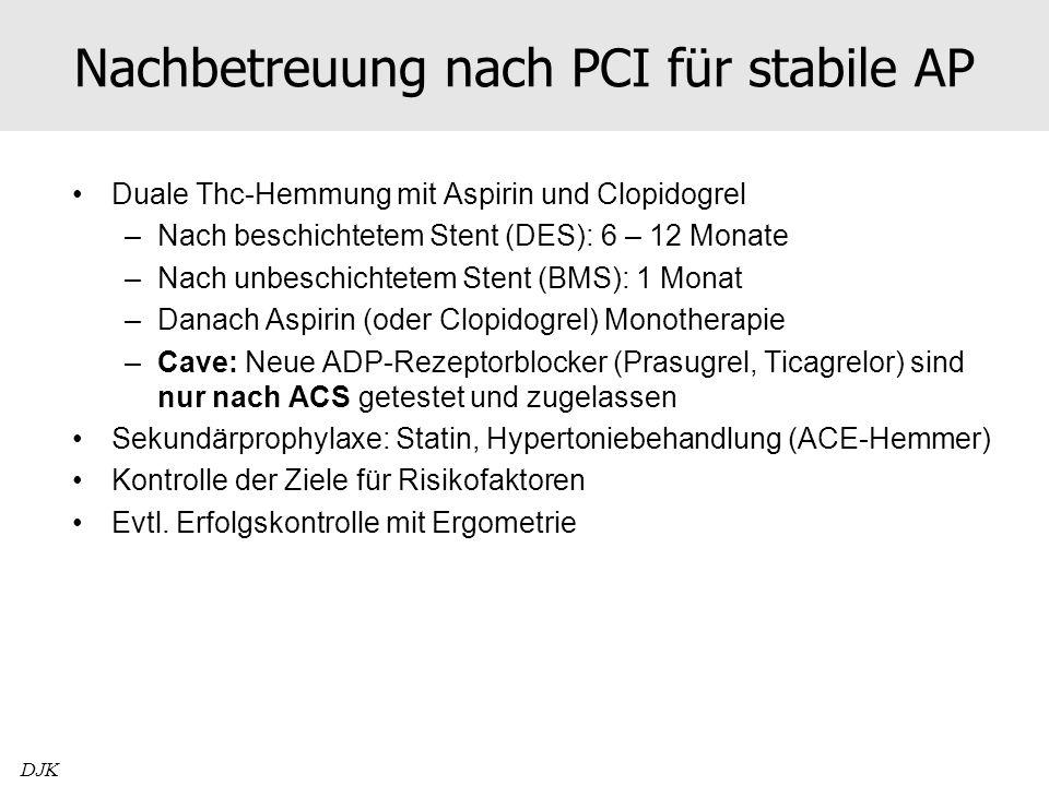 Nachbetreuung nach PCI für stabile AP