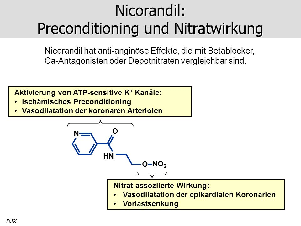 Nicorandil: Preconditioning und Nitratwirkung